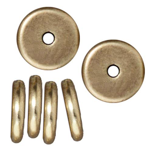Brass Oxide Finish Lead-Free Pewter Disk Heishi Spacer Beads 8mm (10)