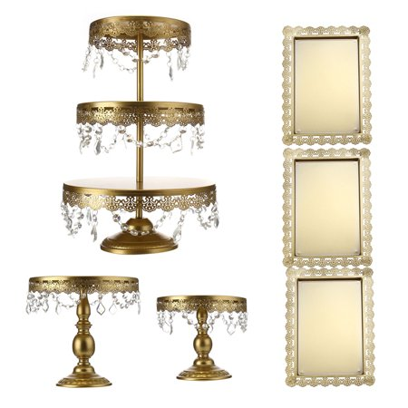 Mrosaa 6 Set Metal Cake Stand, Classical Round Cupcake Holder, Cake Plate Tray, Cookie Pedestal Display Tower, for Wedding Birthday Party, with Crystals Pendants and Beads ()
