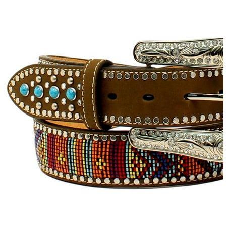 Indian Beaded Belt - Blazin Roxx Western Belt Womens Beaded Stones Multi-Color N3522444