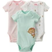 Child of Mine Newborn Baby Girl Bodysuits, 3-Pack
