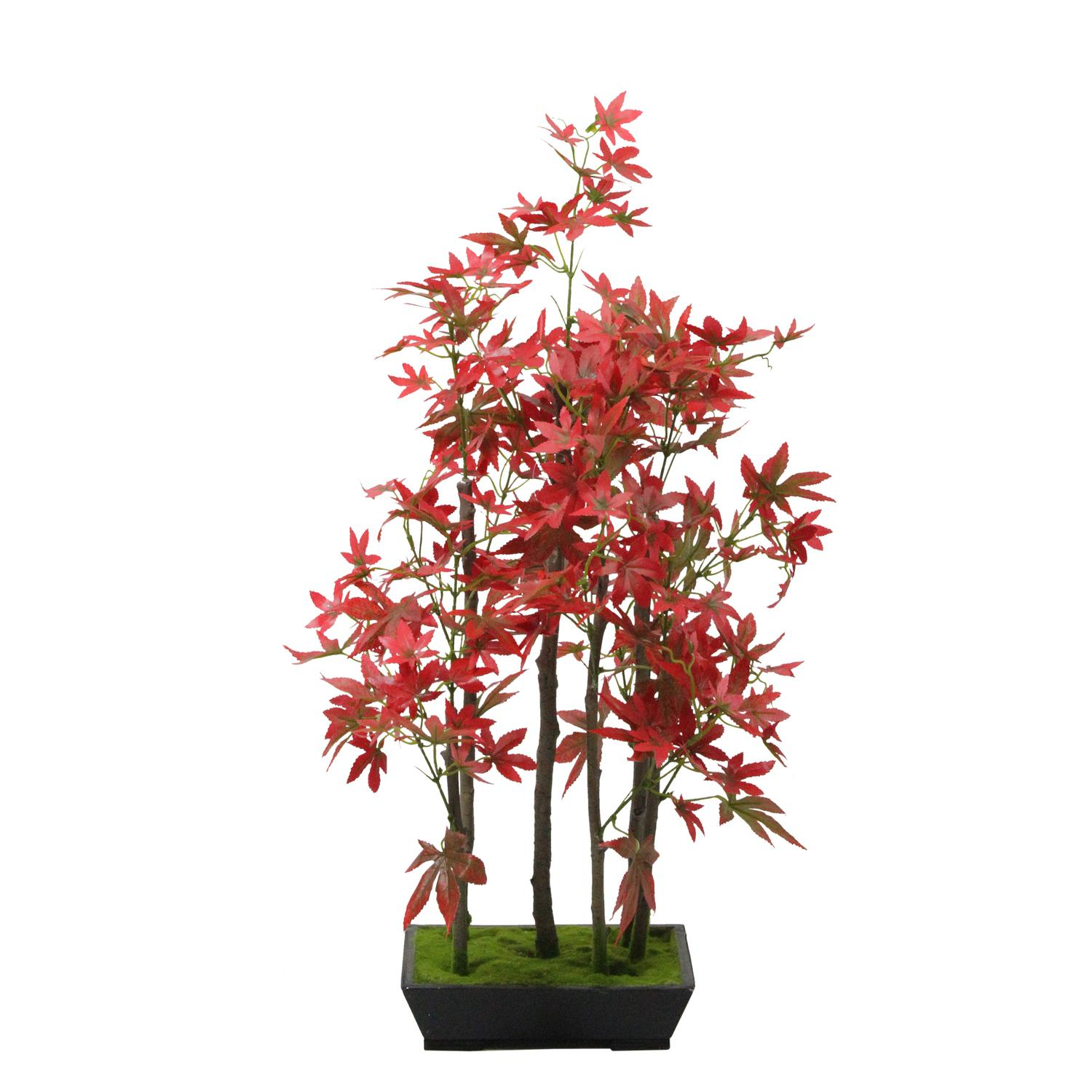 "25"" Artificial Red Japanese Maple Bonsai Tree with Weathered Base"