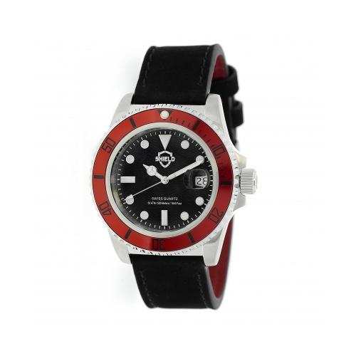 Shield Cousteau Leather-Band Pro-Diver Swiss Watch W/Date - Silver/Black/Red