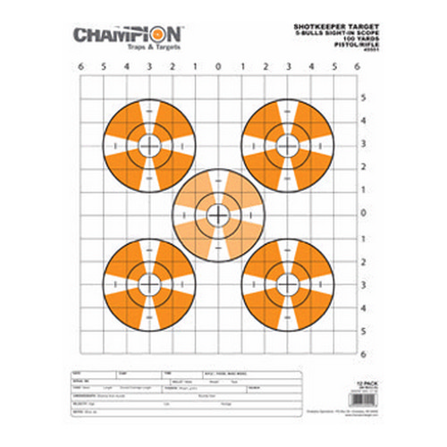 Champion Traps and Targets Shotkeeper Sightin Scope Target, 12-Pack Large