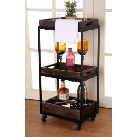 Decoriny 3-Tier Rolling Utility Storage Wooden(Acacia) Cart, Kitchen Serving Bar Cart/Tea Cart, Multipurpose trolley