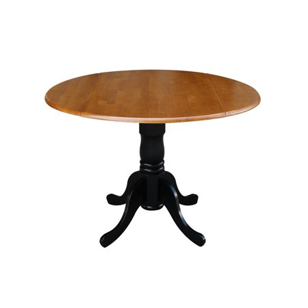Round Kitchen Table With Drop Leaves, Black / Cherry ()