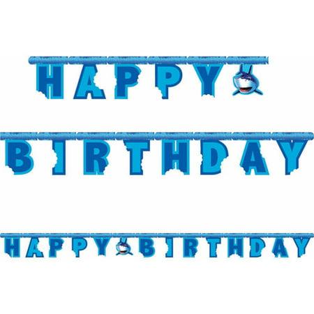 Creative Converting Shark Splash Jointed Banner - Shark Birthday Supplies