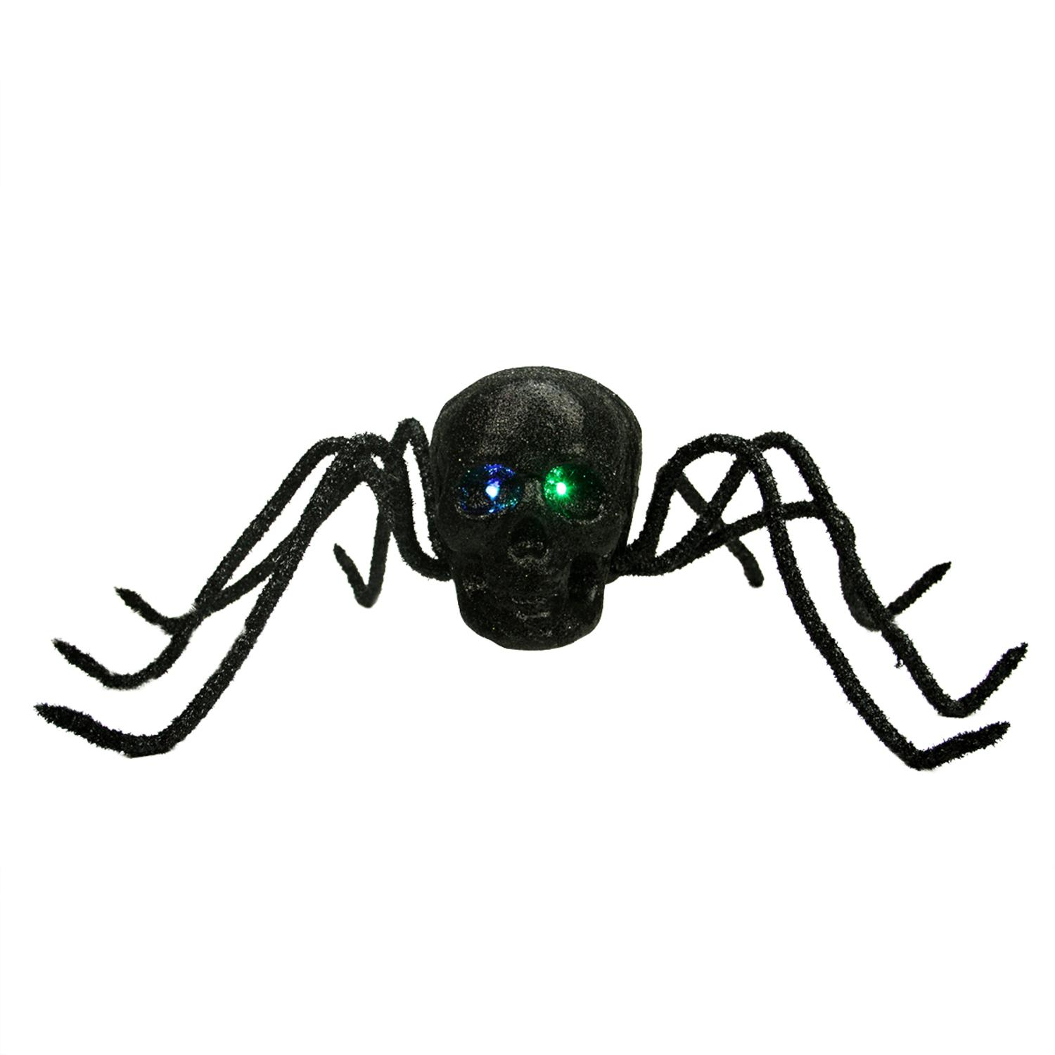 "25"" Battery Operated LED Lighted Black Glitter and Tinsel Skull Spider Halloween Decoration by Allstate"