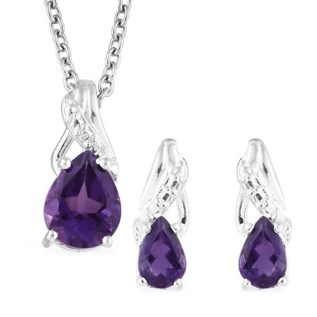 Amethyst Sterling Silver Earrings and Chain Pendant Necklace Gift Set 1.5 Cttw Size - Chain And Earring Gift Set
