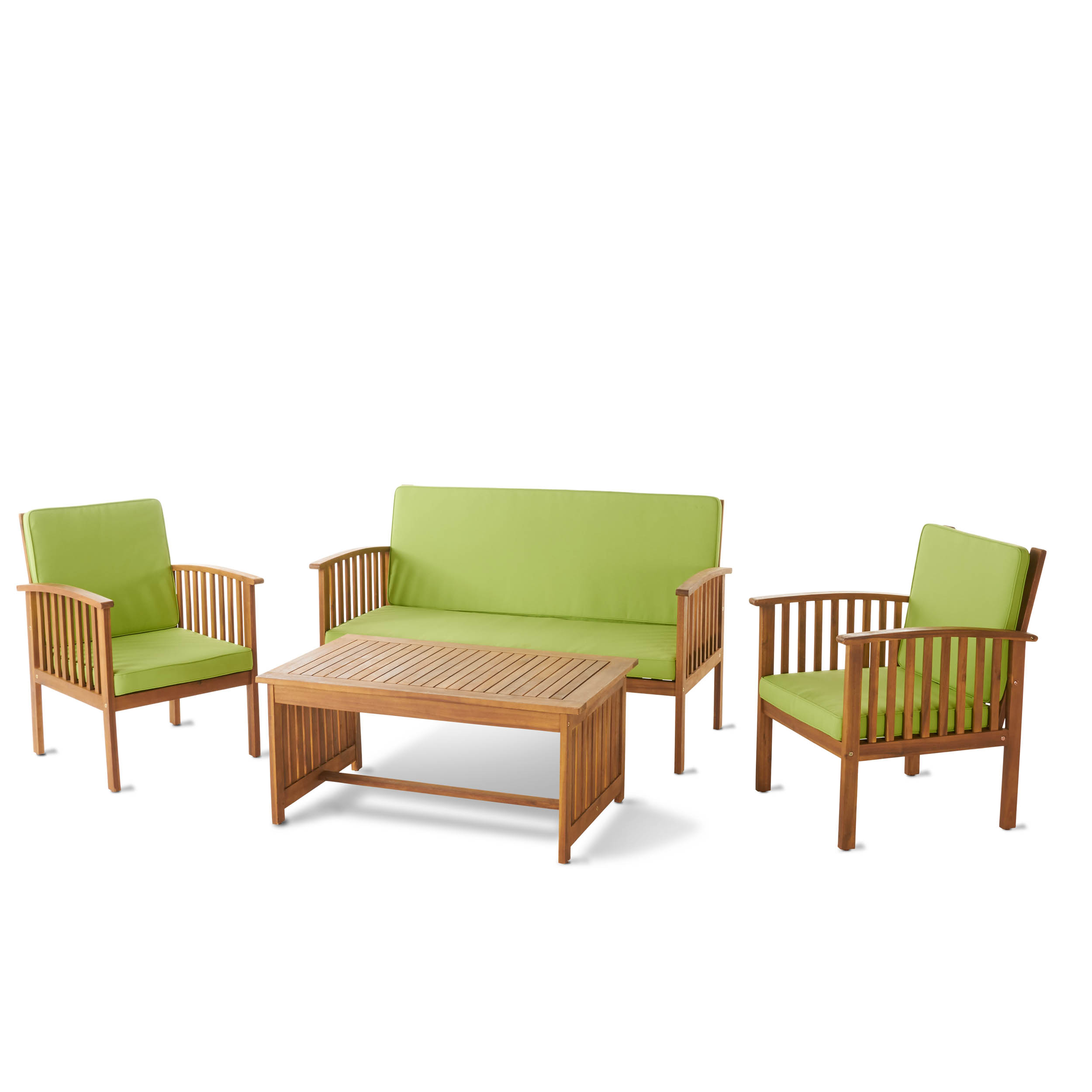 Merveilleux Caresta Outdoor 4 Piece Acacia Wood Sofa Set With Water Resistant Cushions,  Brown Patina And Light Green