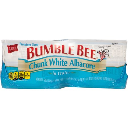 Reversible Bumble Bee ((4 Cans) BUMBLE BEE Chunk White Albacore Tuna Fish in Water, 5 Ounce Cans, High Protein Food and Snacks)