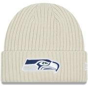 Seattle Seahawks New Era Youth Core Classic Stone Knit Cuffed Hat - Cream - OSFA