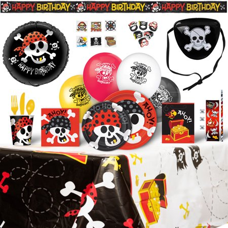 Pirate Birthday Party Supplies Decoration Bundle 8 Guests - 200 Pieces - Pirate Themed Birthday Parties