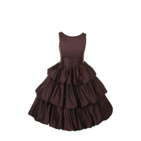 Girls Brown Layered Brown Sash Pick Up Occasion Dress 6