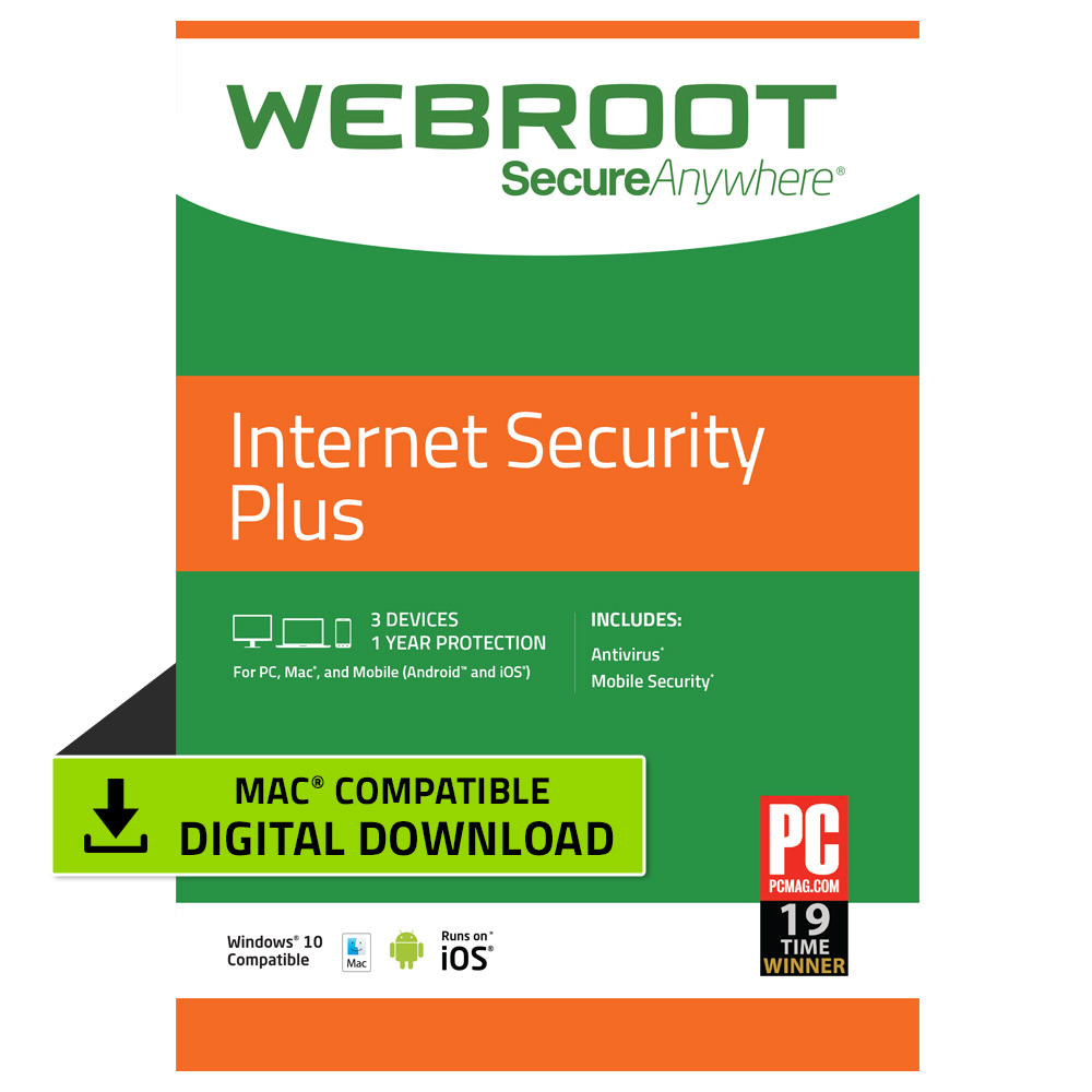 Webroot Internet Security Plus + Antivirus | 3 Device | 1 Year | Mac Download