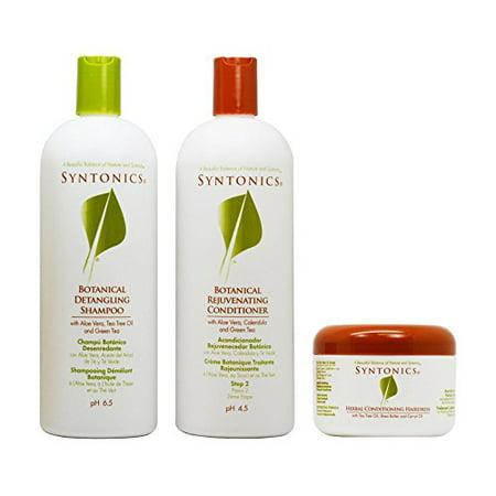 "Syntonics Botanical Detangling Shampoo & Rejuvenating Conditioner 32oz + Herbal Conditioning Hairdress 7oz ""Set"""