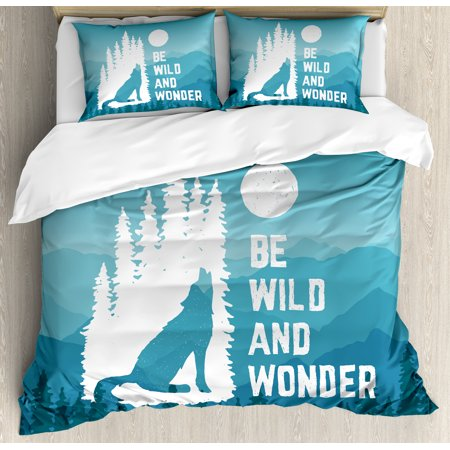 Adventure Duvet Cover Set, Hand Drawn Be Wild and Wonder Quote Howling Wolf in the Woods under Moon, Decorative Bedding Set with Pillow Shams, Night Blue White, by Ambesonne ()