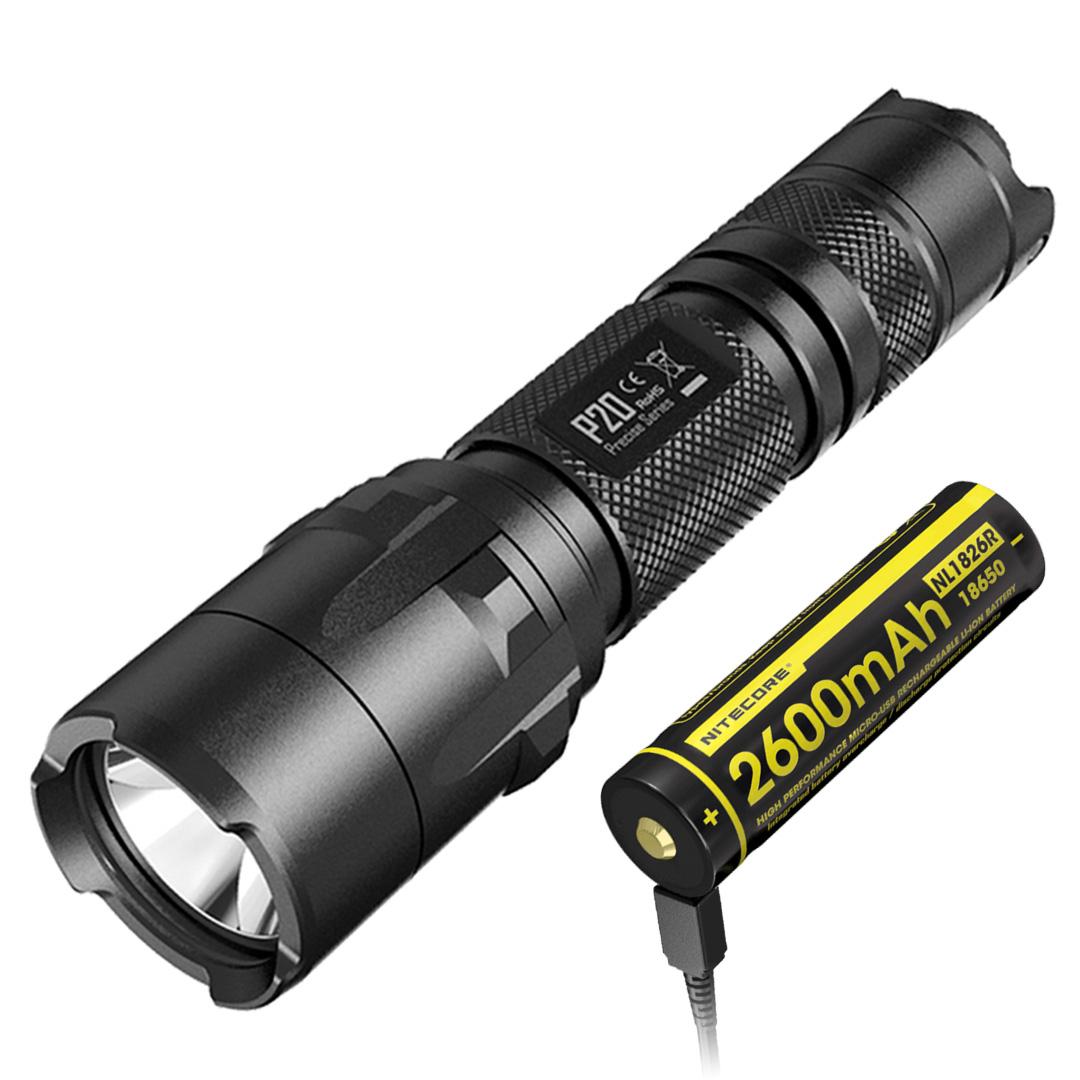 Nitecore P20 Precise Series 800 Lumen Strobe Ready Tactical Flashlight + NL1826R USB Rechargeble 18650 Battery