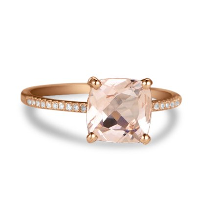 Beautiful 1.25 Carat Cushion cut Real Morganite and Diamond Engagement Ring in 18k Gold Over Sterling
