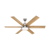 """Hunter 60"""" Warrant Brushed Nickel Ceiling Fan with Light Kit and Wall Control"""