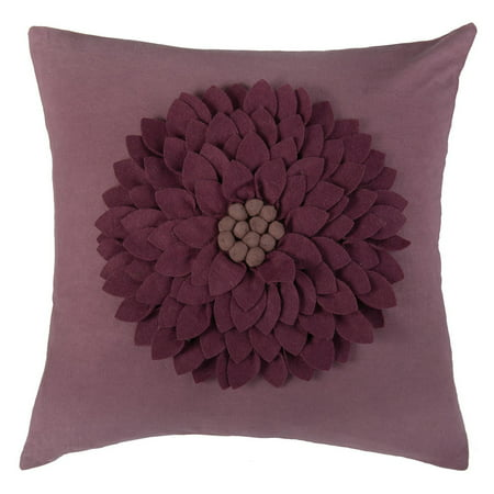 Rizzy Home 3D Felt Leafy Floral Center Blossom Decorative Throw Pillow in Ivory