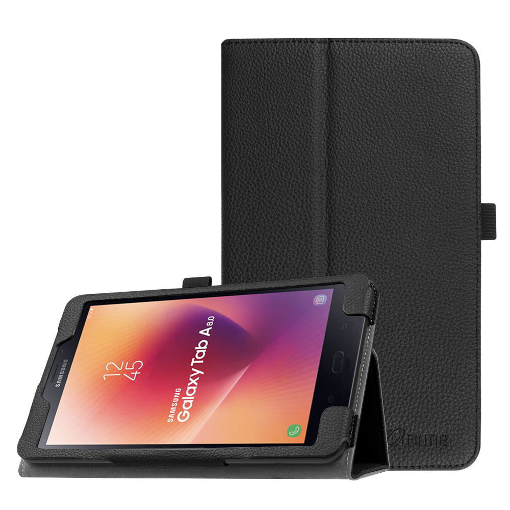 Samsung Galaxy Tab A 8.0 2017 Case, Premium PU Leather Folio Stand Cover Auto Sleep / Wake SM-T380 / T385, Black