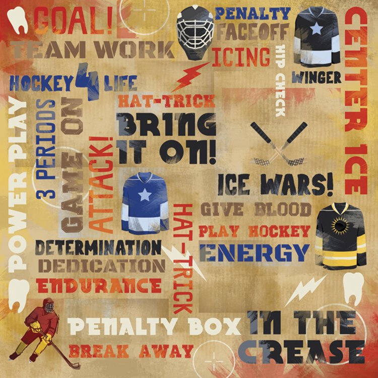 Hockey Paper 12 Inch X 12 Inch-Power Play Collage