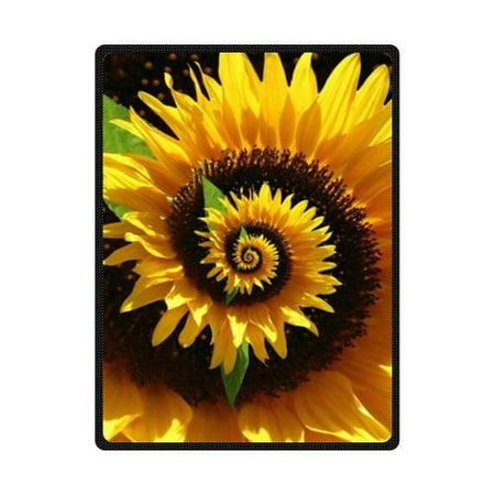600 Denier Turnout Blanket (CADecor Sunflower Fleece Blanket Throw Blanket 58x80 inches)