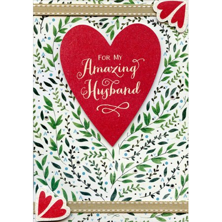 Designer Greetings Die Cut Heart with Fabric Ribbons Hand Crafted: Husband Premium Keepsake Valentine's Day Card (Heart With Ribbon)