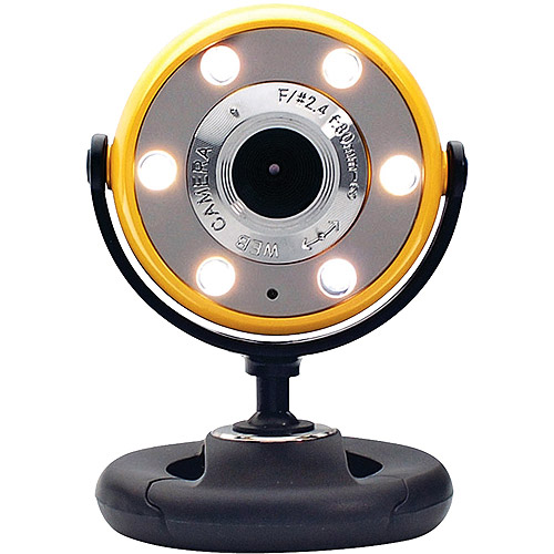 Gear Head Quick 1.3MP Webcam with Night Vision, Yellow/Black