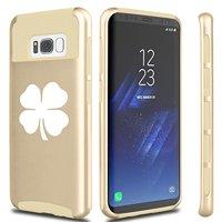 For Samsung Galaxy Shockproof Impact Hard Soft Case Cover 4 Leaf Clover (Gold For Samsung Galaxy S8+ (Plus))