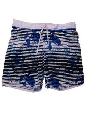 Mens White/Blue Black Stripe Board Shorts Swim Trunks 2XL