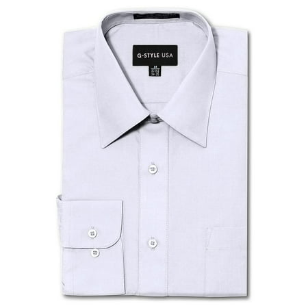 G-Style USA Men's Regular Fit Long Sleeve Solid Color Dress Shirts - WHITE - Large - 34-35 These exceptional dress shirts by G-Style USA are of premium quality and durability. Dress it up with the classic button up dress shirt. Available in a multitude of colors so that you'll never have to worry about what to wear. Offered at very affordable prices, these shirts are made for people who want to look good for a casual or formal occasion! The shirts are machine washable, easy Iron, and breathable/stretchable.Please kindly note that the clothing tags for G-Style USA products may be labeled as Omega. Omega is the manufacturer of G-Style USA.