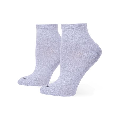 Hue Women's Supersoft Cropped Socks - 3 Pack, Chrome, One-Size Silver Cycling Socks