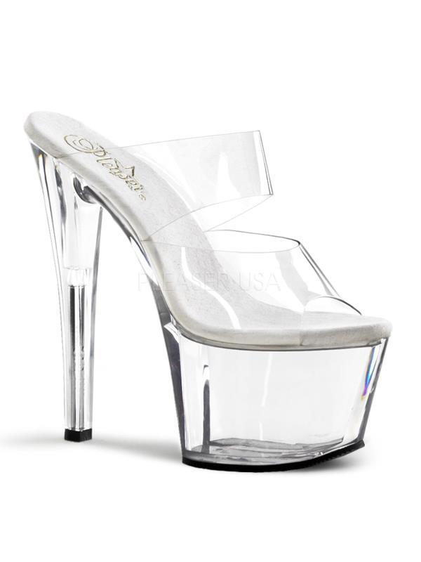 "SKY302/C/M Pleaser Platforms (Exotic Dancing) 7""-7 1/2"" Heel Shoes CLEAR Size:13"