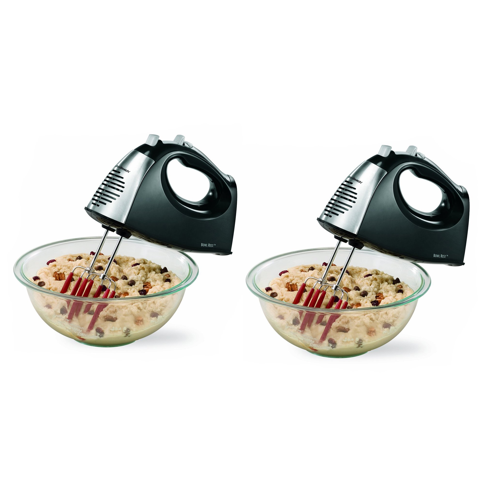 Hamilton Beach SoftScrape 6 Speed Electric Hand Mixer with Storage Case (2 Pack)