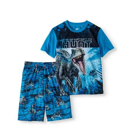6e8d60cdf616 Jurassic World - Boys  2-Piece Poly Pajama Sleep Short Set - Walmart.com
