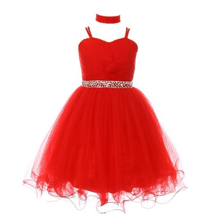 Girls Red Rhinestone Beaded Wired Tulle Mesh Junior Bridesmaid Dress (Js Boutique Beaded Mesh Dress)