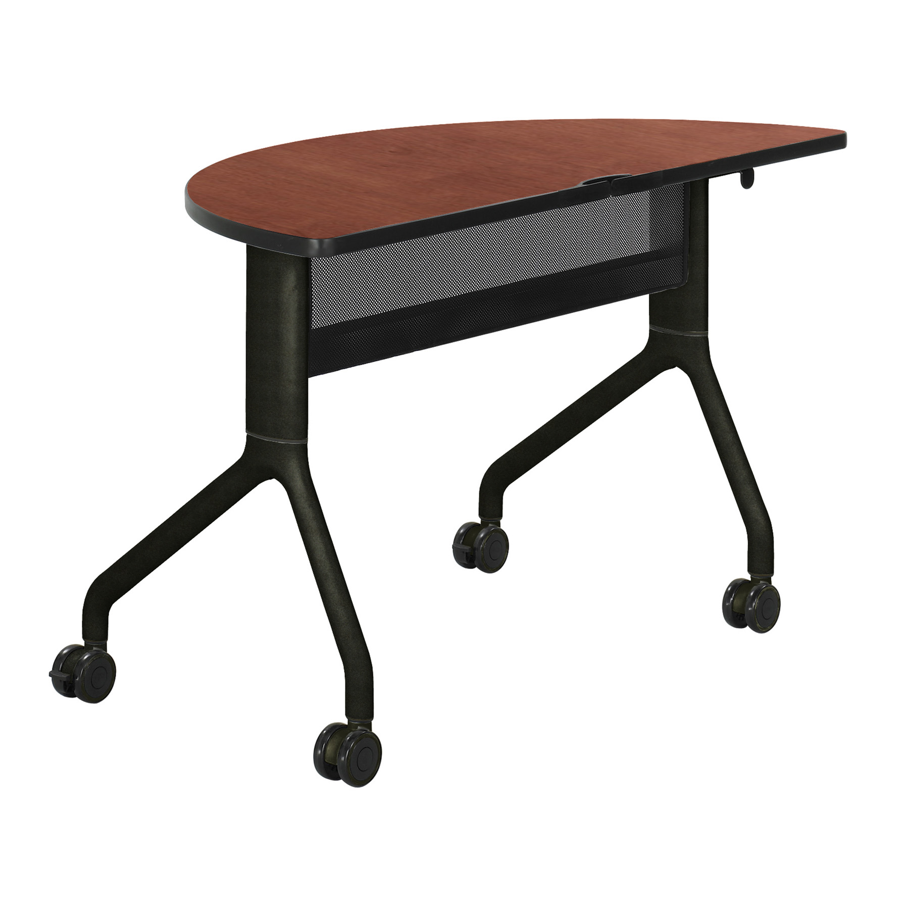 2041CYBL Rumba Office Furniture 48 Inch x 24 Inch Cherry Top With Black Steel Frame Base Half Round Table