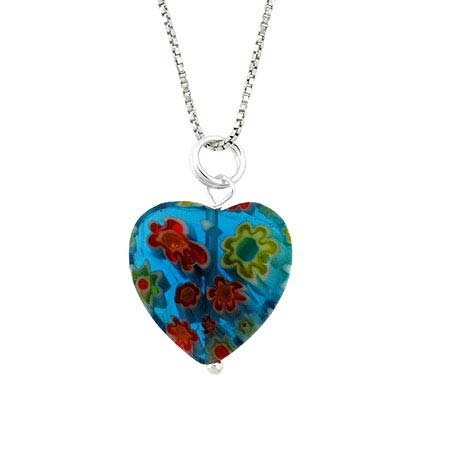 Murano Millefiori Flower Ring - Summer Murano Glass Sterling Silver Bead Blue Millefiori Flower Heart Pendant