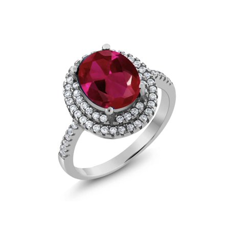 3.80 Ct Oval Red Created Ruby 925 Sterling Silver Ring - image 4 de 4