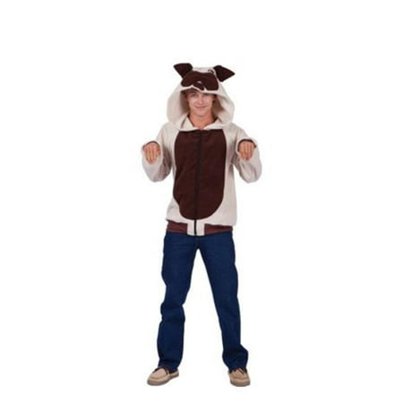 Butch Bulldog Adult Hoodie Costume, Small - Beige & Brown - Bulldog Costumes For Adults