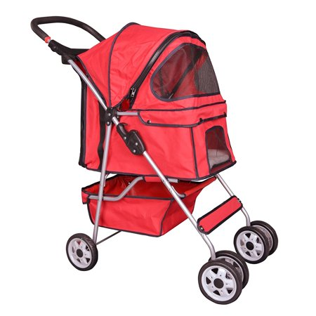 Carrie Rover Stroller (BestPet Red 4 Wheels Pet Stroller Cat Dog Cage Stroller Travel Folding)
