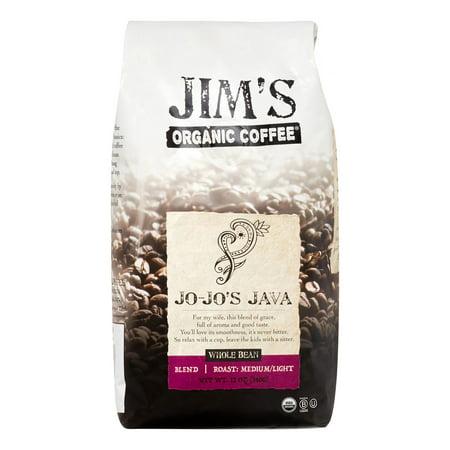 Jim's Organic Light Roast Whole Bean Coffee, Jo-Jo's Java, 12 Oz, 1