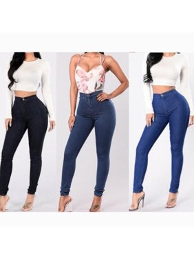 Fashion Women Lady Denim Skinny Pants High Waist Stretch Jeans Slim Pencil Trousers