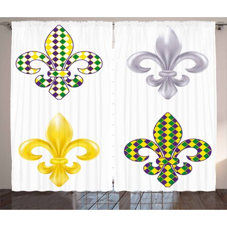 Mardi Gras Curtains 2 Panels Set, Fleur De Lis Motifs with Mardi Gras Pattern Traditional Lily Flowers Collection, Window Drapes for Living Room Bedroom, 108W X 90L Inches, Multicolor, by Ambesonne