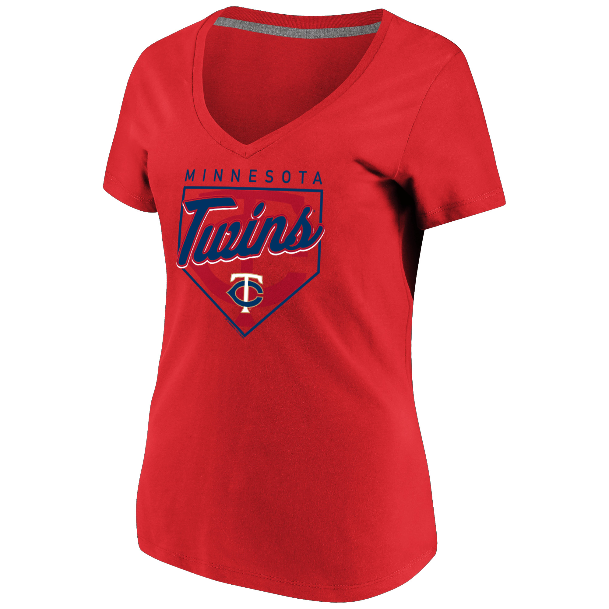 Women's Majestic Red Minnesota Twins Cling to the Lead V-Neck T-Shirt
