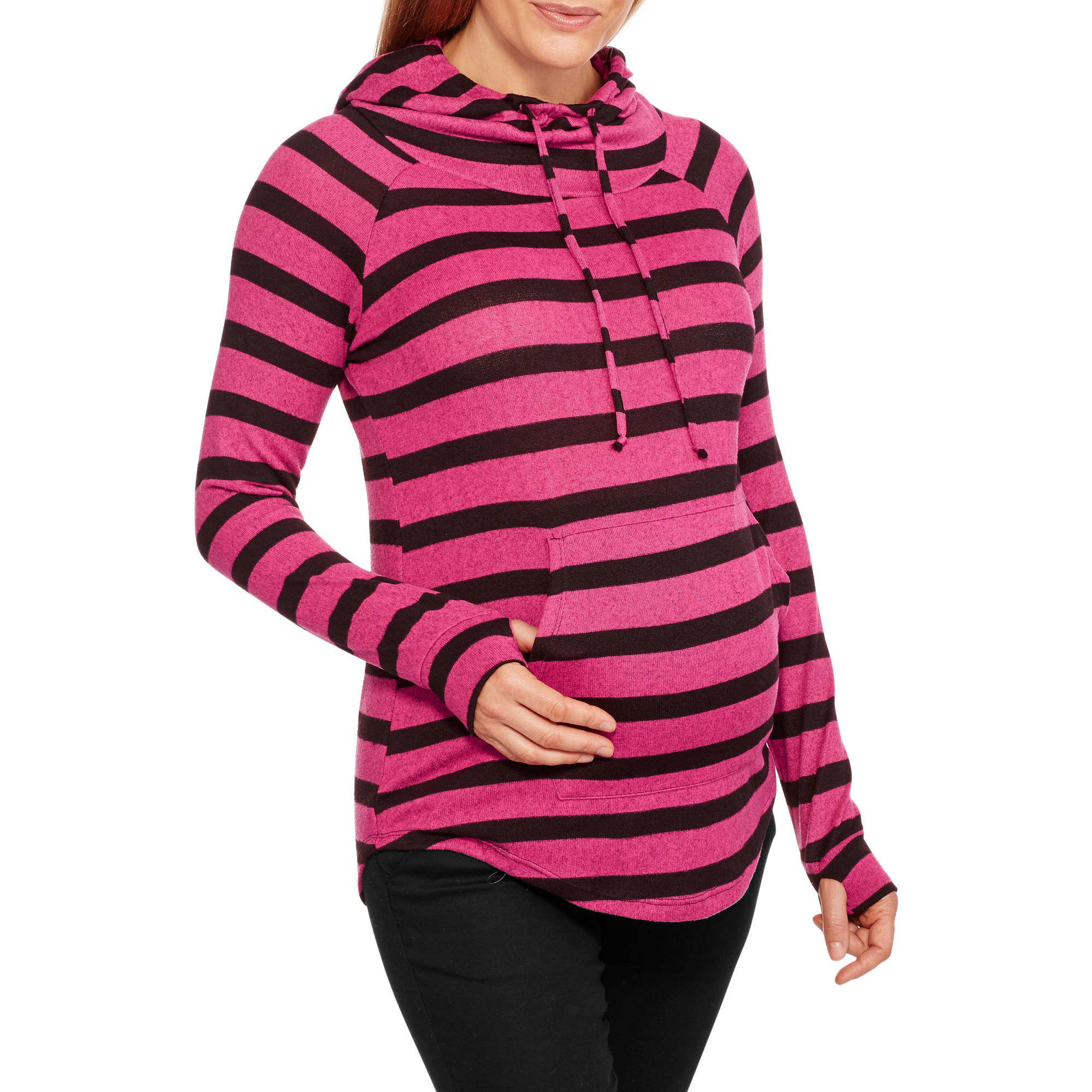 Inspire Maternity Striped Hacci Cowl Neck Hoodie