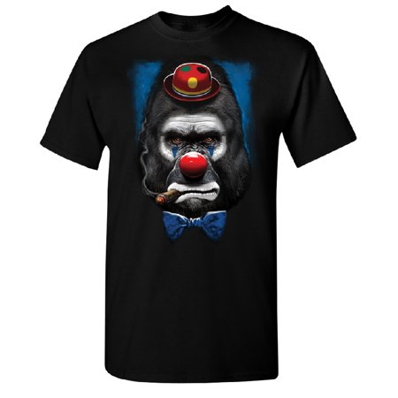 Gorilla Clown Smoking Cigar Men's T-shirt Funny Halloween 2017 Tee Black Small (Proud Halloween 2017)