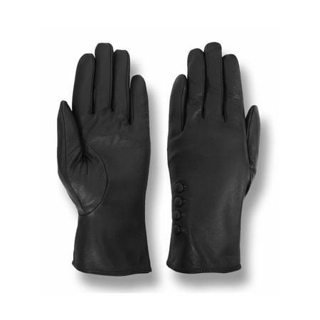 Giromy Samoni Women's Plush Lined 4-Button Dress Leather Gloves - Black ()