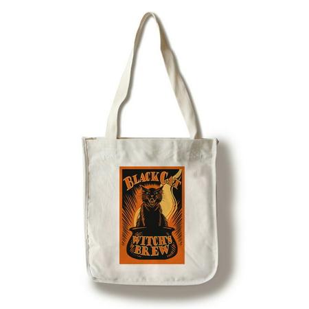 Halloween - Black Cat Witch's Brew - Lantern Press Artwork (100% Cotton Tote Bag - Reusable) - Garage Halloween